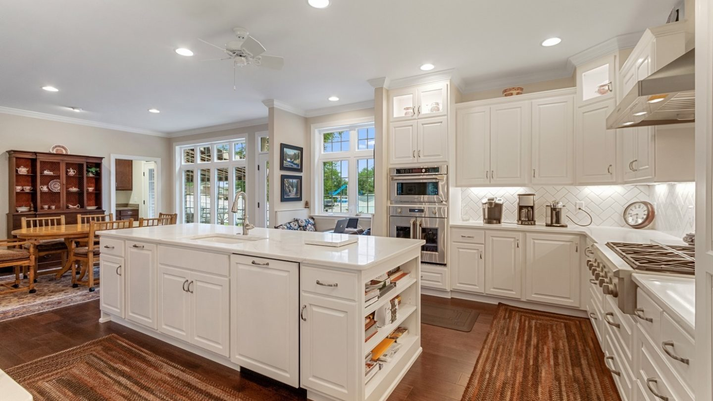 kitchen island with white marbel
